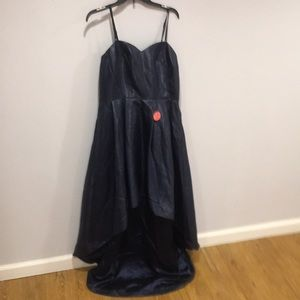 ASOS navy high low strapless dress. NWT. Size 12